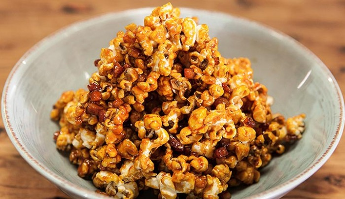 Bacon and Cashew Caramel Popcorn | Good Chef Bad Chef