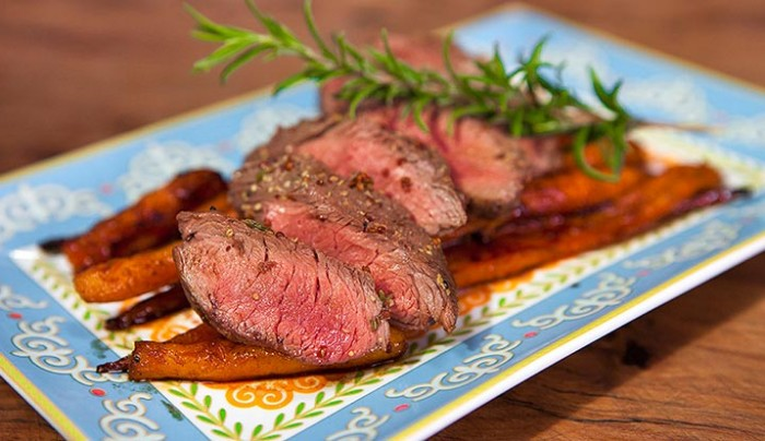 BBQ Kangaroo Fillets with Moroccan Carrots