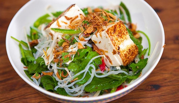Grilled Tofu with Angel Hair Noodle Salad