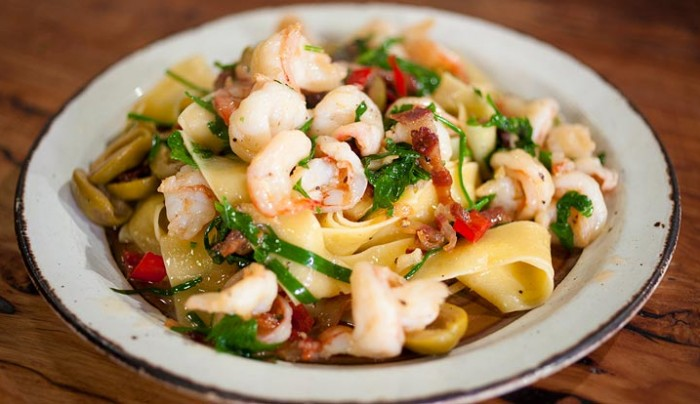 Papperdelle with Olives, Pancetta and Prawns