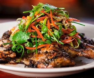BBQ Butterflied Chicken with Tropical Marinade and Mango