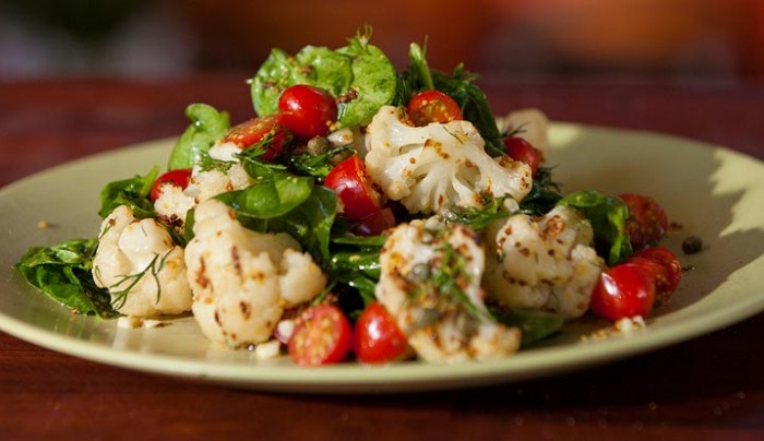 Grilled Cauliflower Salad with Mustard Dressing