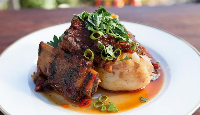 Slow Cooked Beef Ribs with Baked Potatoes