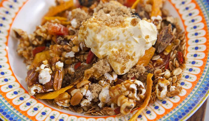 Salted Caramel Peanut Muesli with Clotted Cream