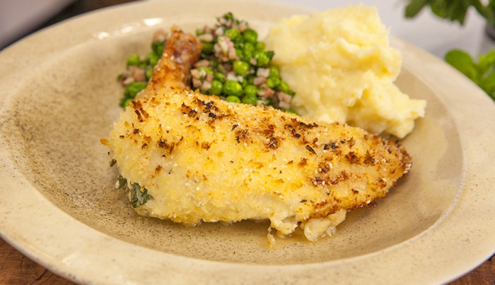 Chicken Kiev with Peas and Mash