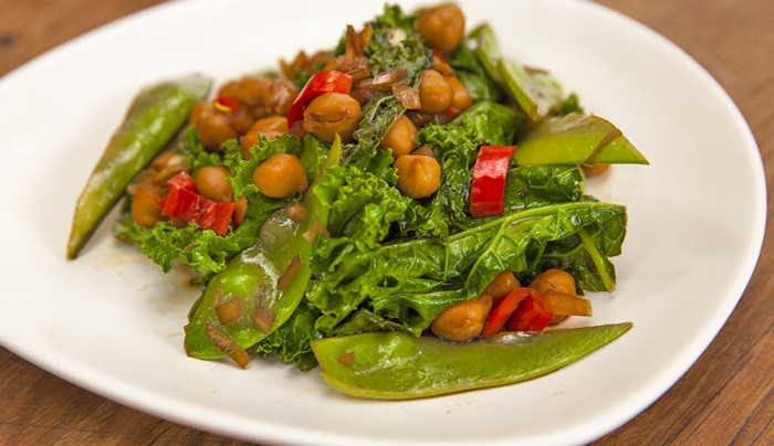 Stir-Fried Chickpeas, Snow Peas and Kale