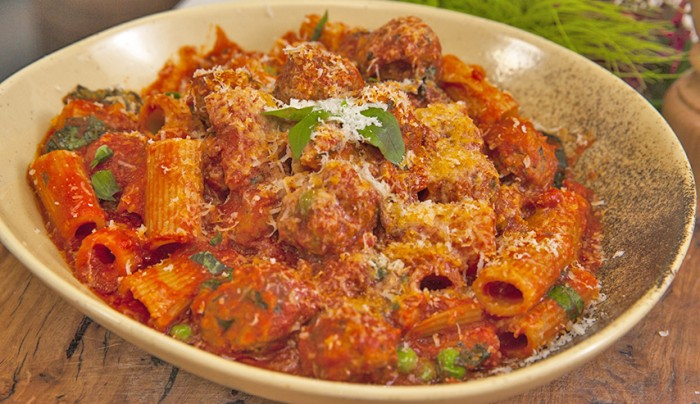 Lamb and Pea Meatballs with Rigatoni