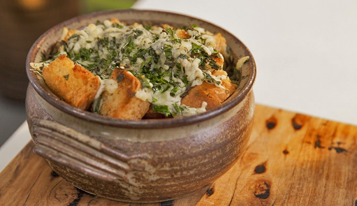 French Onion Cider Soup with Herb Cheese Croutons