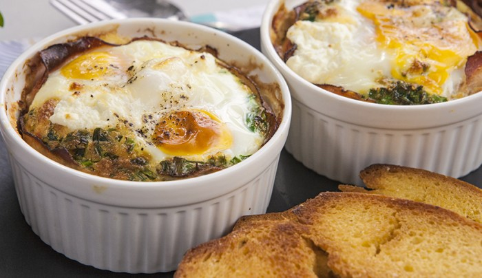Baked Eggs with Bacon and Goats Cheese