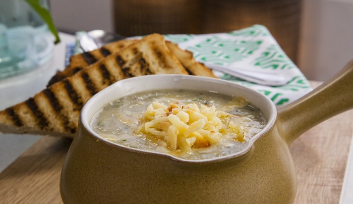 Roasted Cauliflower and Mung Bean Soup with Smoked Cheese