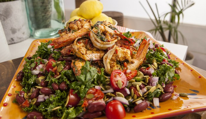 Portuguese Prawn, Bean and Kale Salad