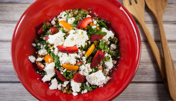 Farro Tabbouleh with Strawberries and Goat Cheese