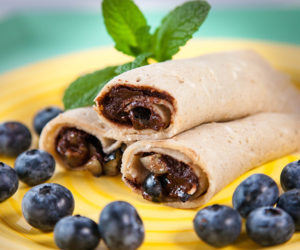 Buckwheat Crepes with Chocolate Sauce and Blueberries