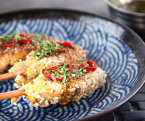 Gluten Free Crumbed Chicken Skewers with Coriander & Chilli Dipping Sauce