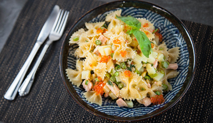 Salmon and Asparagus Bowtie Pasta