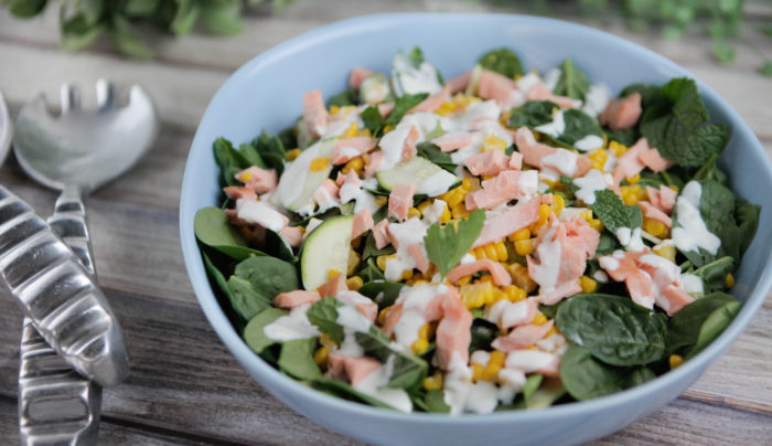 Salmon & Spinach Salad with Yoghurt Dressing