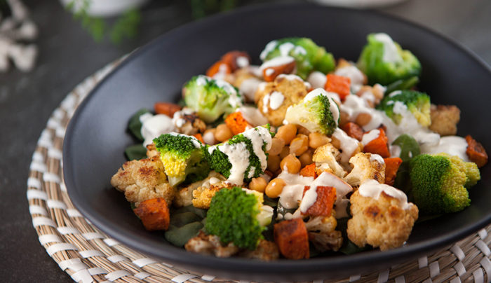 Cauliflower and Sweet Potato Salad with Indian Yoghurt Dressing