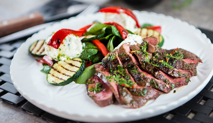Chimichurri Steaks with Potato Salad and Chargrilled Vegetables