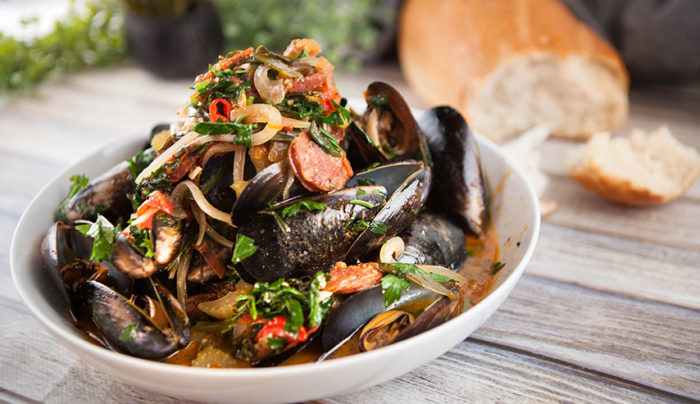 Steamed Mussels with Chorizo and Garlic