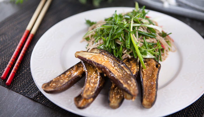 Miso Grilled Eggplant with Soba Noodle Salad