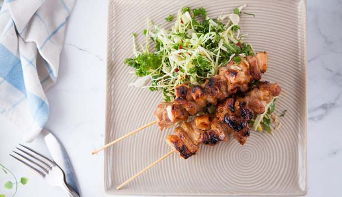 Pork Belly Skewers with Apple & Cabbage Salad