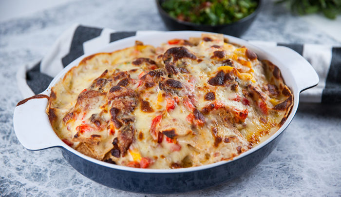 Sausage Nachos with Cheese Sauce