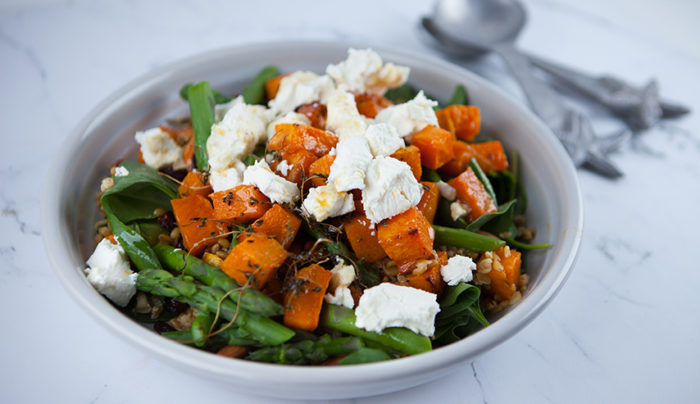 Maple Roasted Butternut Pumpkin And Freekeh Salad Good Chef Bad Chef
