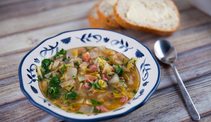 German Ham Hock and Cabbage Soup