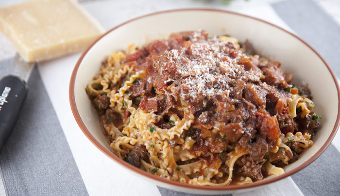 Braised Beef Ragu with Curly Fettuccine