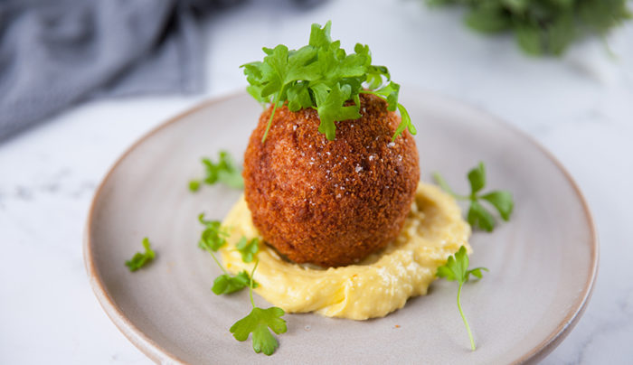 Bocconcini Stuffed Arancini with Potato Aioli