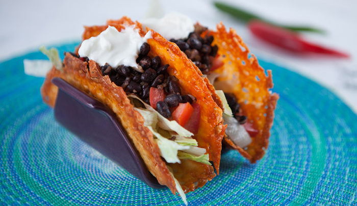 Refried Bean Cheddar Cheese Tacos