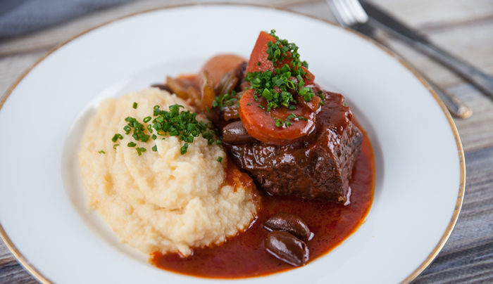 Braised Beef With Swede Potato And Turnip Mash Good