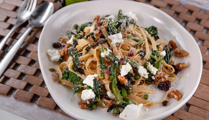 Fettuccine with Bitter Greens and Toasted Walnuts