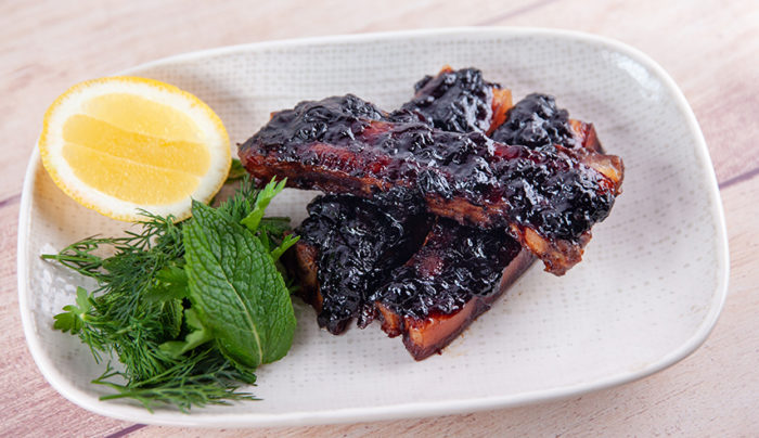 Baby Back Ribs with Blueberry Balsamic Barbecue Sauce