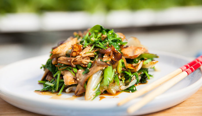 Stir Fry Chicken with Asian Greens, Mushrooms and Watercress