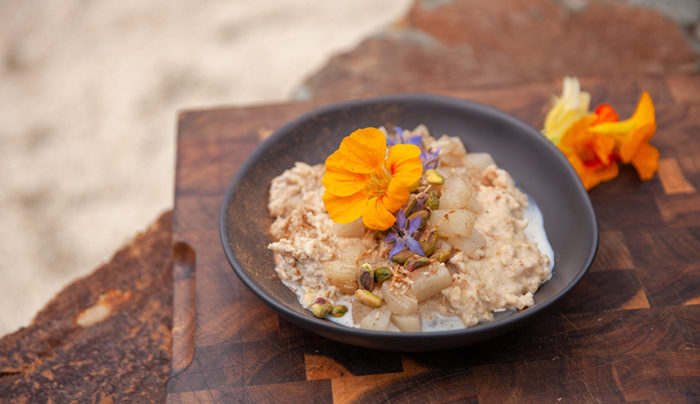 Quinoa and Oat Porridge with Stewed Pear