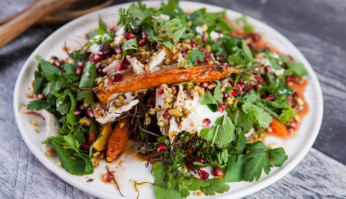 Farro with Harissa Carrots and Chicken