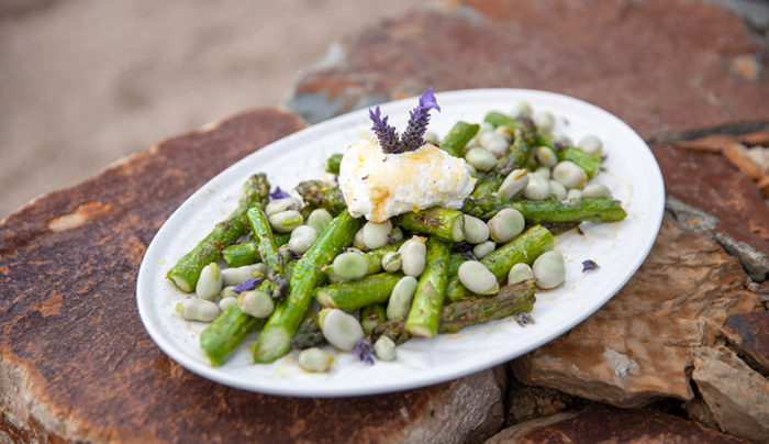 Asparagus and Broad Beans with Gippsland Honey and Labna