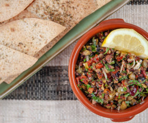 Chunky Olive Tapenade with Oregano Tortilla Chips