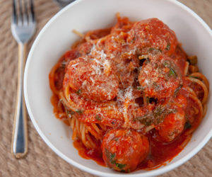 Olive Meatballs with Spaghetti