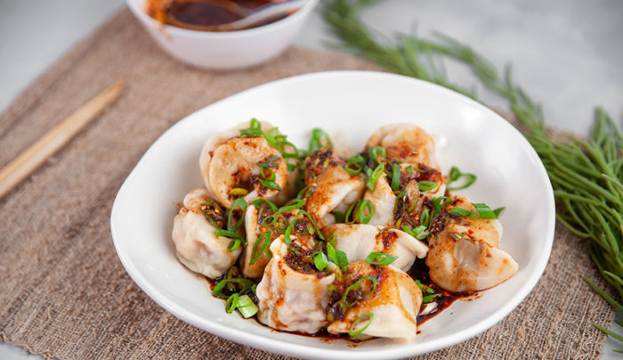 Chinese Dumplings with Crispy Chilli Dressing