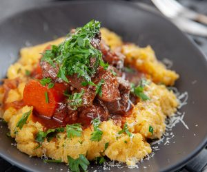Slow Cooked Beef Ragu, Red Wine and Creamy Polenta