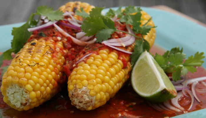 Whole Corn Cob with Mexican Molcajete Sauce