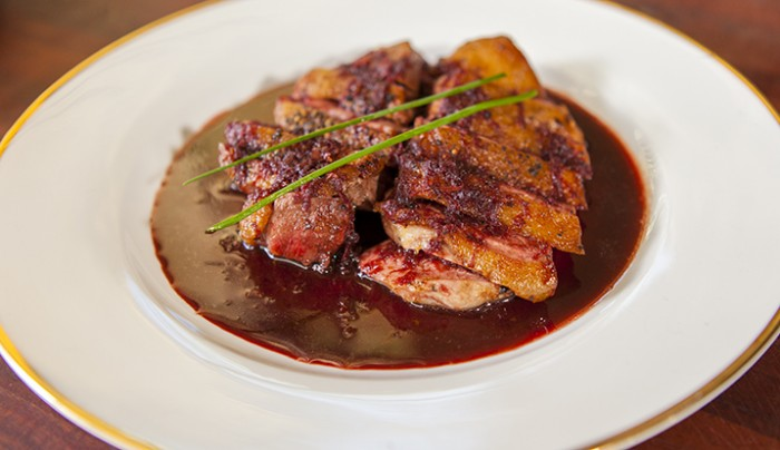 Grilled Duck Breast Marinated in Beetroot