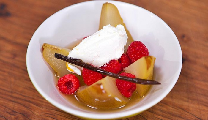 Poached Pears with raspberries and Goats Cheese
