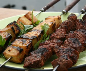 Tofu Skewers with Spicy Asian Dressing