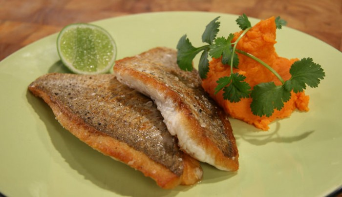 Pan fried Snapper with Sweet Potato Mash