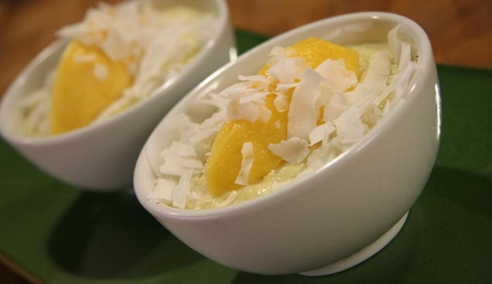 Chilled mango and coconut puddings