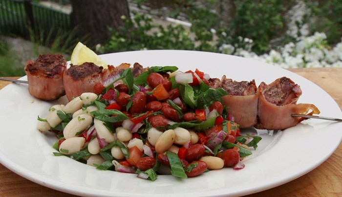Lamb Filets wrapped in Pancetta with a Summer Bean Salad