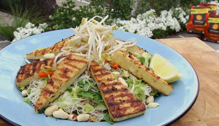 Warm Tofu Salad with Rice Vermicelli
